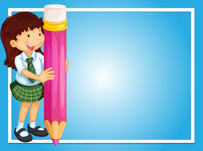 Border template with girl and pink pencil.