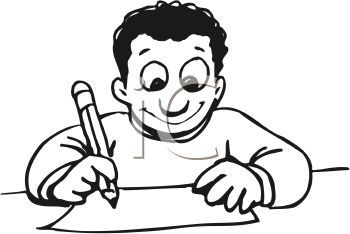 Kids Writing Clipart Black And White.