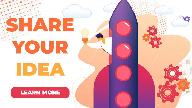 Horizontal flat banner written share your idea. Vector.