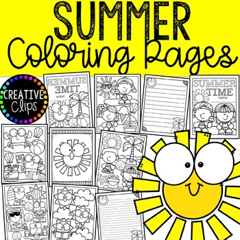 Summer Coloring Pages (+ writing papers) {Made by Creative Clips Clipart}.