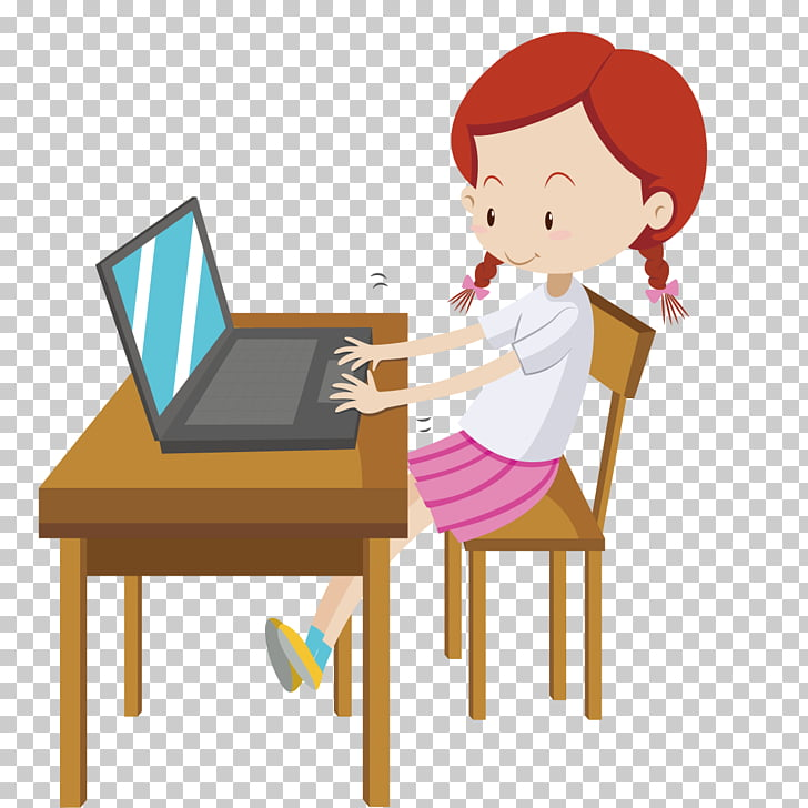 Laptop Computer Girl , Children computer PNG clipart.