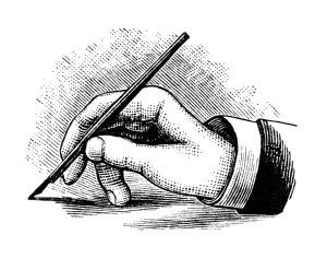 Free Vintage Image ~ Hand Holding and Writing with Pen Clip.