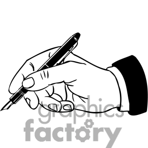 Writing Pen With Hand Clipart.