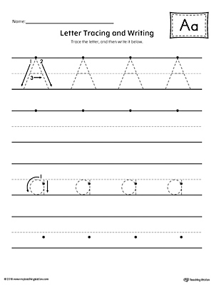 Letter A Tracing and Writing Printable Worksheet.
