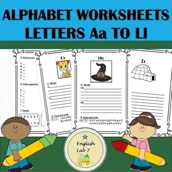Alphabet Letters A to L Writing Practice Worksheets.