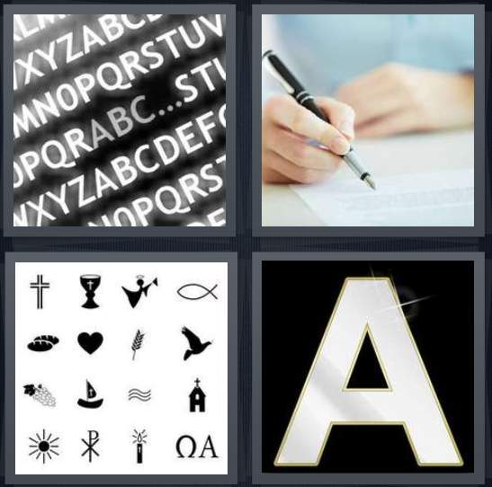 4 Pics 1 Word Answer for Alphabet, Writing, Clip Art, A.