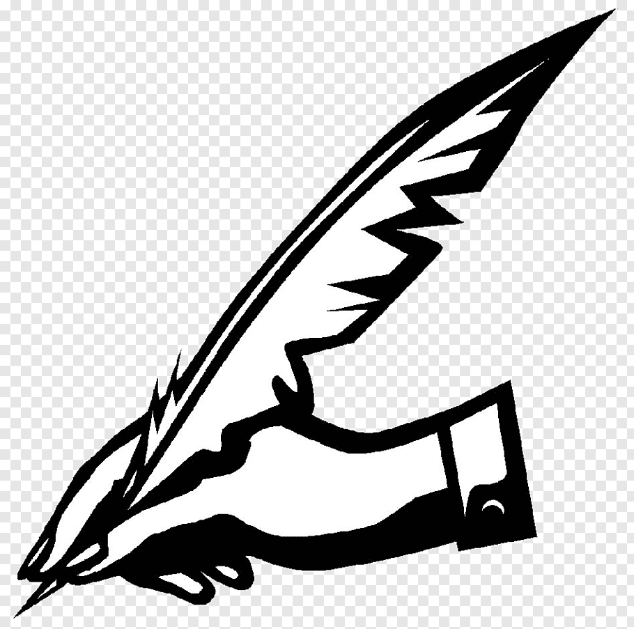 Hand and feather illustration, Writing Writer Essay Logo ACT.
