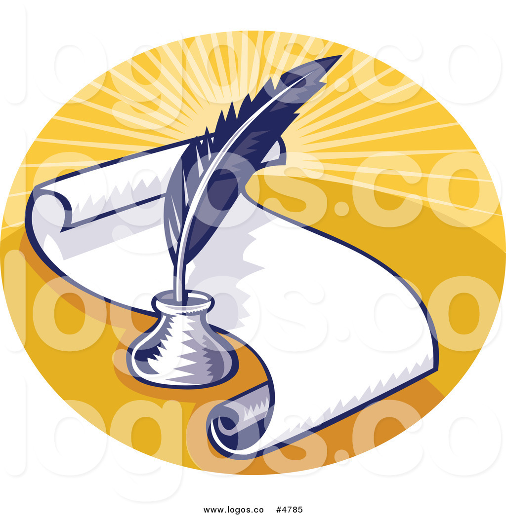 Royalty Free Vector of a Writing Feather Quill and Scroll.
