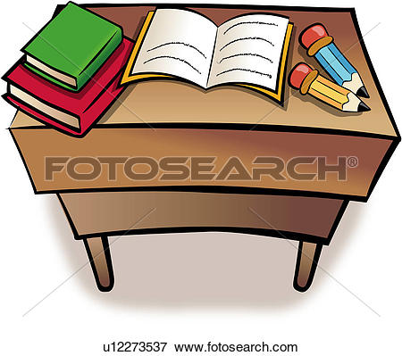 Clip Art of book, writing materials, table, pencil, object.