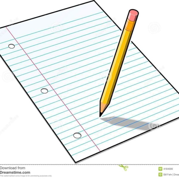 Pencil Writing In Notebook Clipart.
