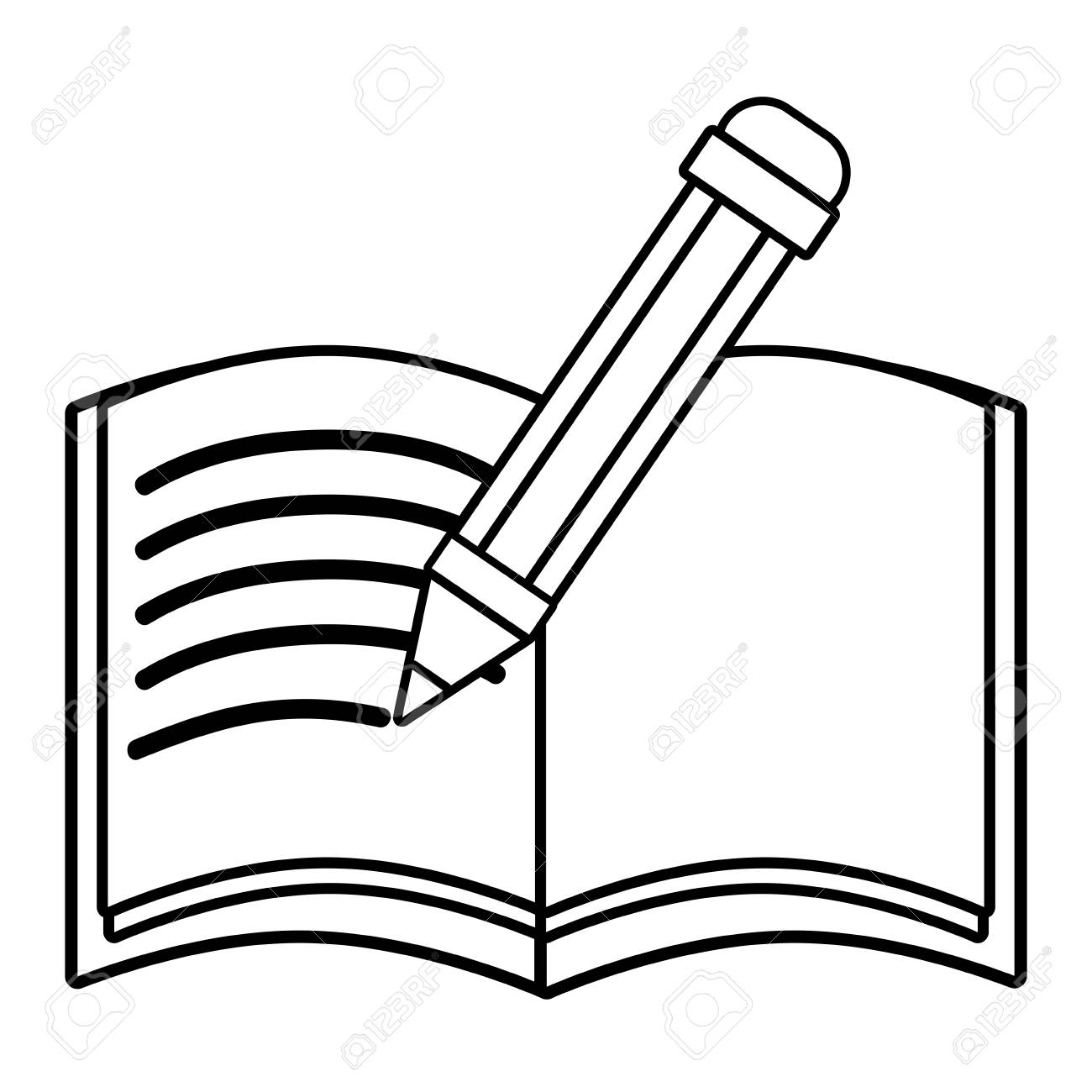 Pencil writing in a notebook vector illustration.