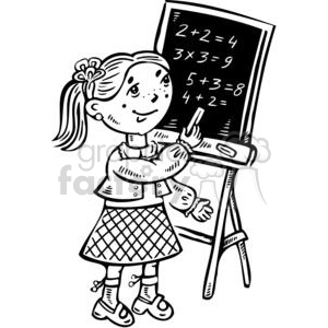 girl writing on a chalkboard clipart. Royalty.