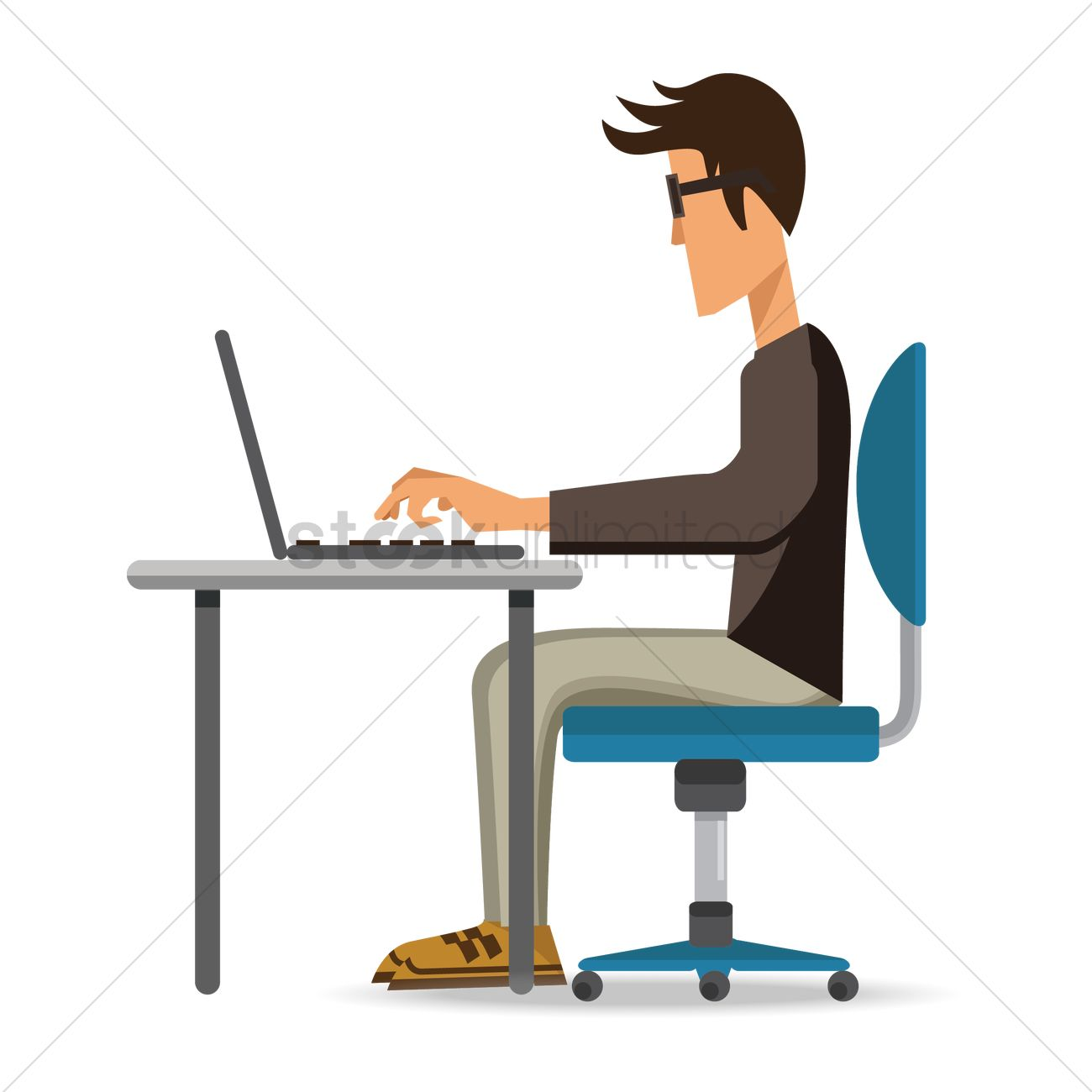 Man With Laptop Clipart.
