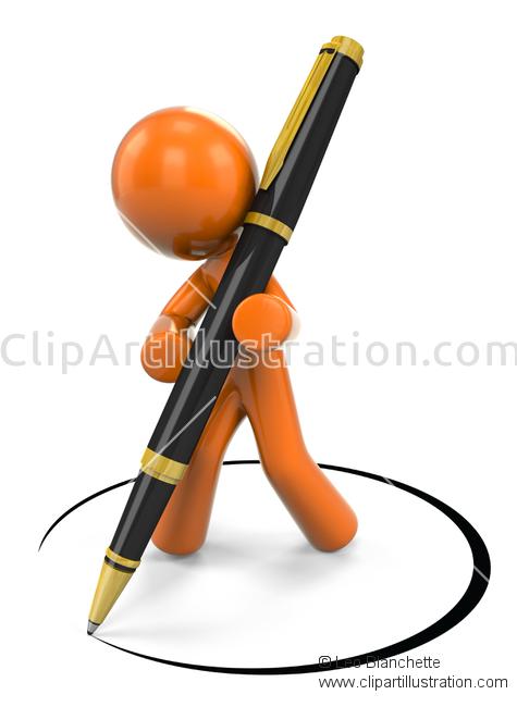 ClipArt Illustration Orange Man Designer Writing Note in.