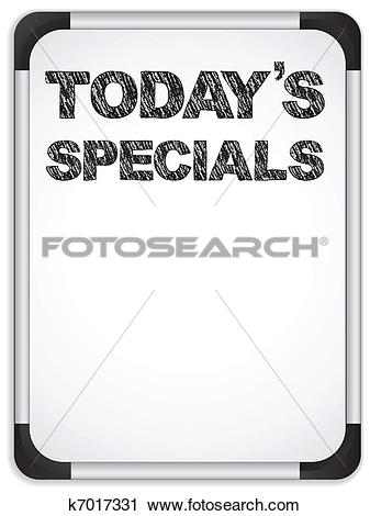 Clipart of Whiteboard with Today's Specials Message written with.
