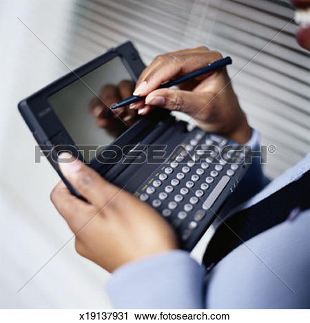 Clipart of Writing in Handheld Computer x19137931.