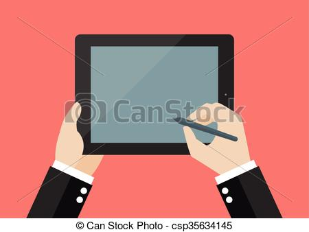 EPS Vector of Hand writing on blank screen of tablet. Flat style.