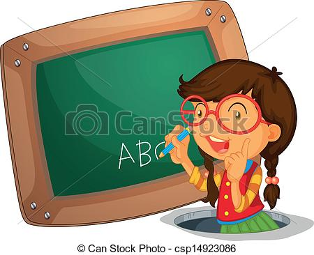 Vector of A girl writing on the board.