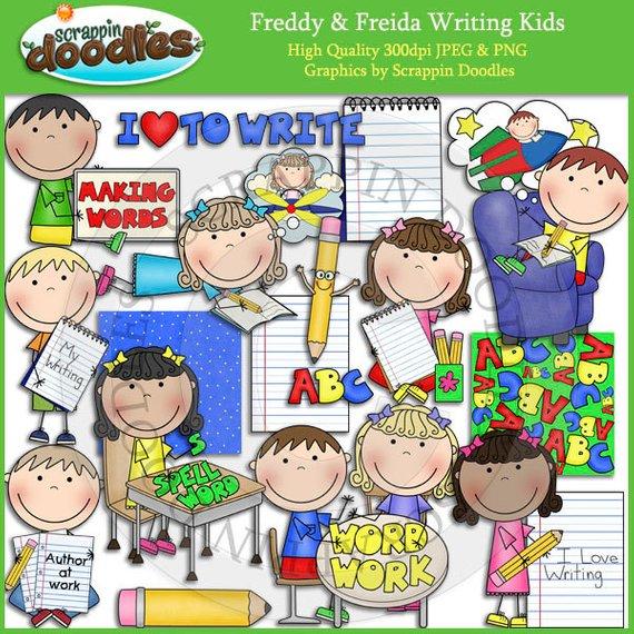 Freddy & Freida Writing Kids Clip Art.