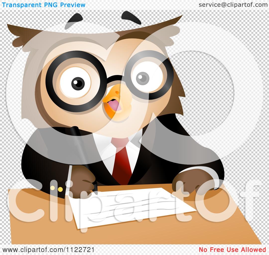 Cartoon Of A Business Owl Writing.