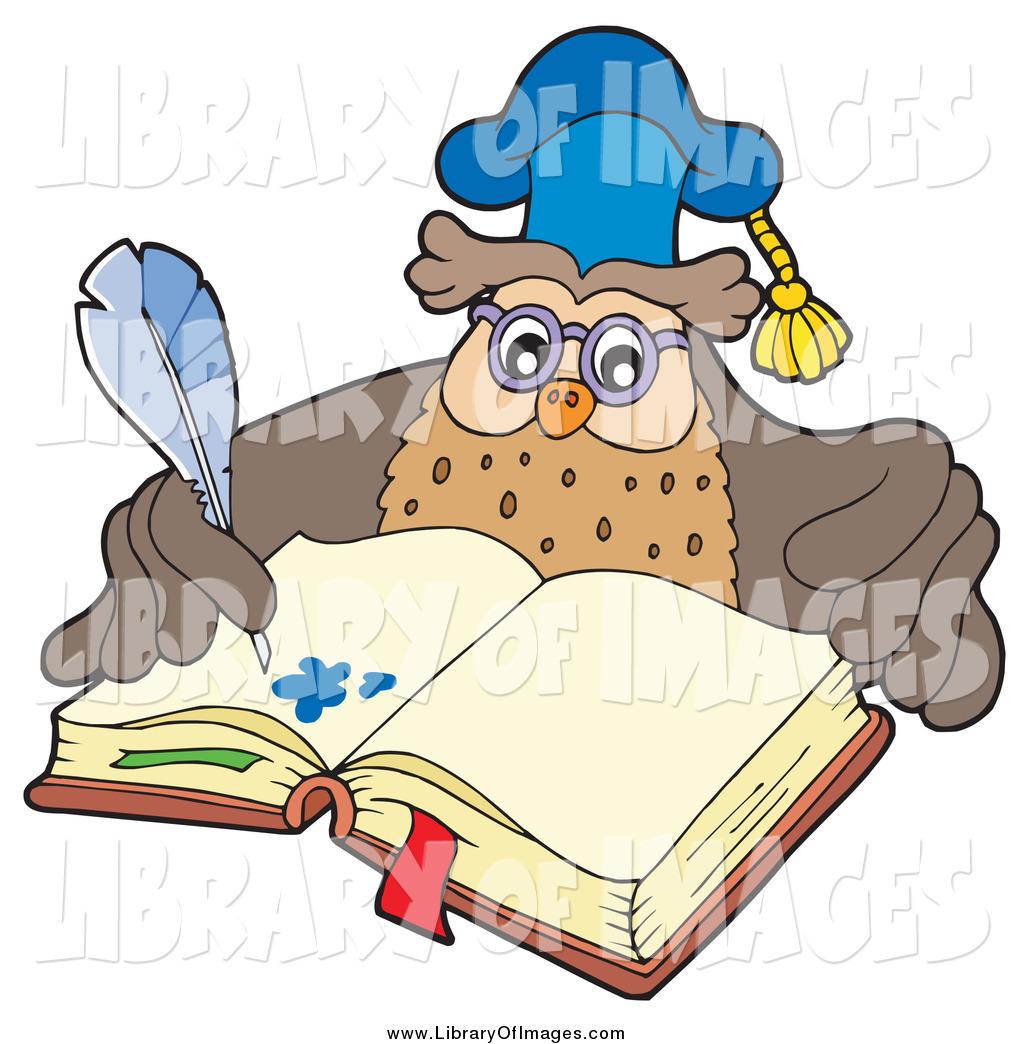 Clip Art of a Professor Owl Teacher Writing in an Open Book by.