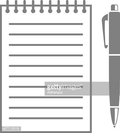 Writing pad and pen Clipart Image.