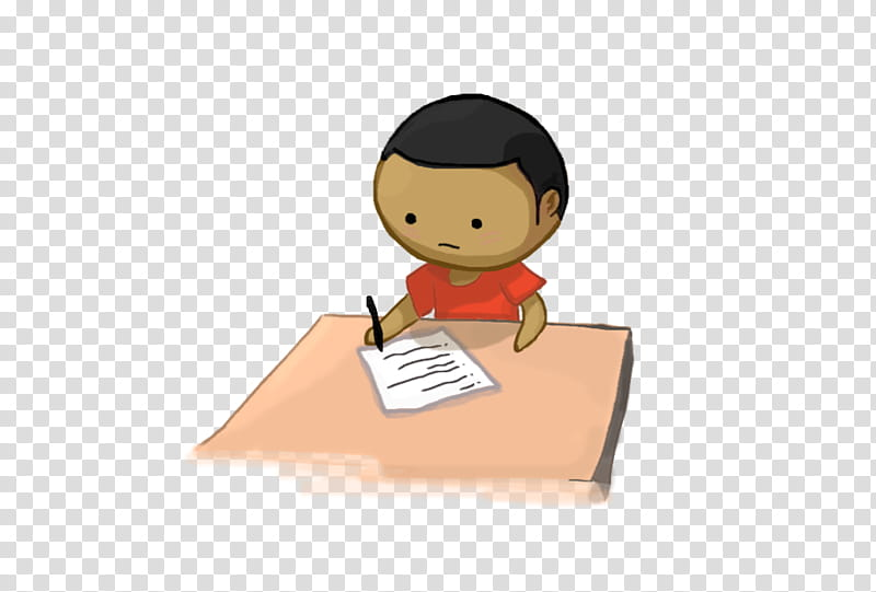 SWooZie taking test, boy writing on paper transparent.