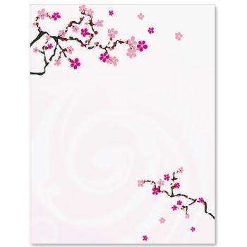 Japanese Cherry Blossom Letterhead Paper.