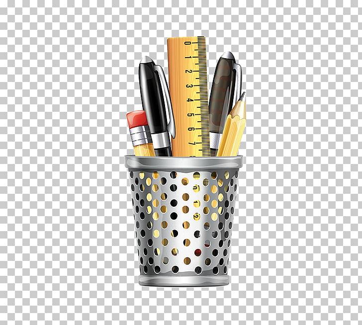 Pen & Pencil Cases , Desk pen holder, pencil, pen, and ruler.
