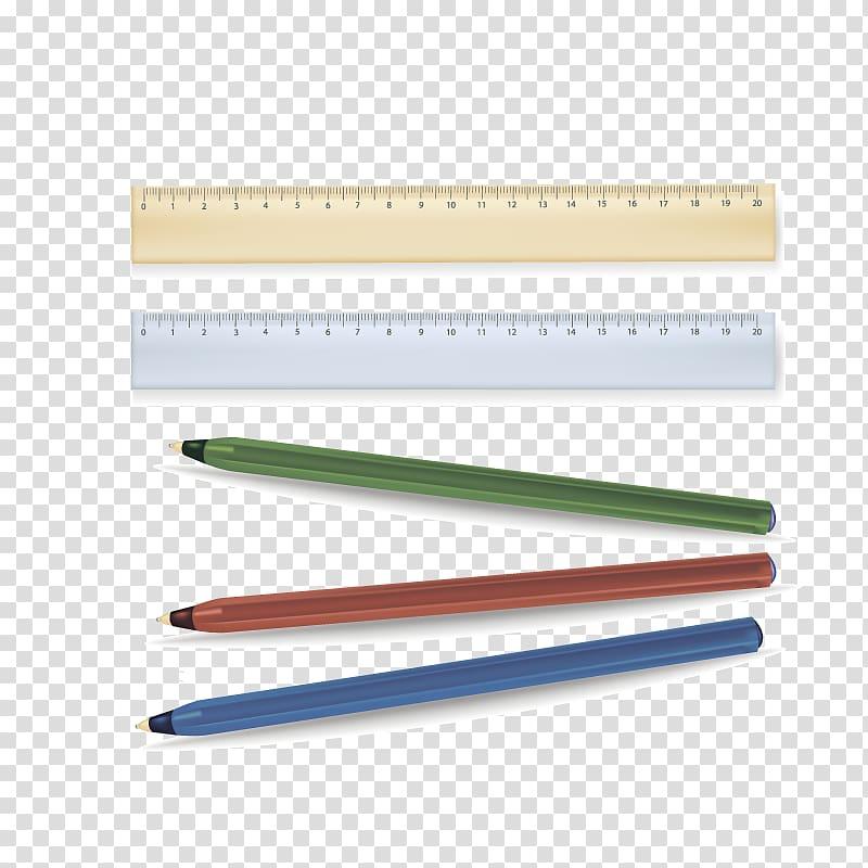 Pen Ruler Designer, Ruler and pen transparent background PNG.