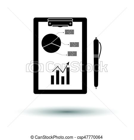 Writing tablet with analytics chart and pen icon.