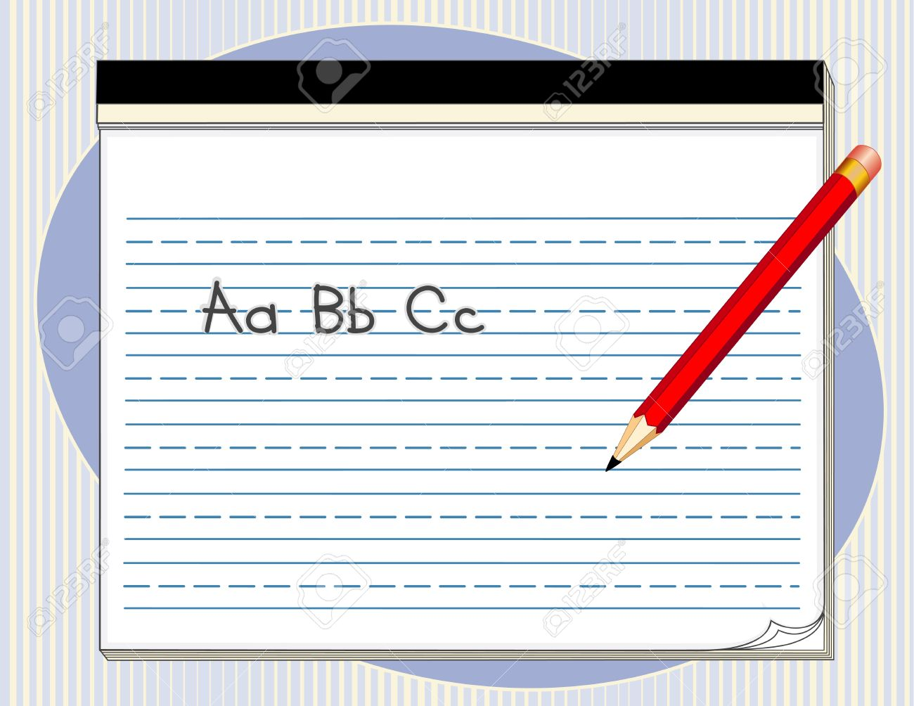 Writing Tablet with handwriting lines, big red pencil, abc.