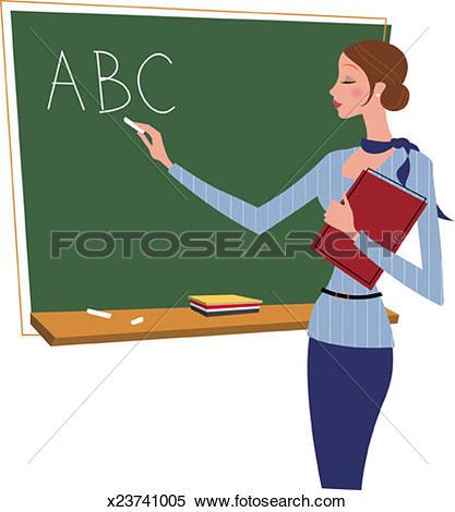 Stock Illustration of Teacher Writing on Chalkboard x23741005.