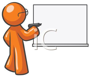 Royalty Free Clip Art Image: Teacher Character Writing on a Dry.