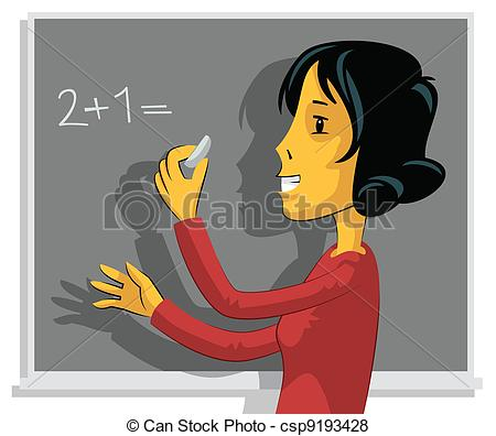 Vector of Teacher writing on chalkboard.