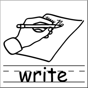 Clip Art: Basic Words: Write B&W Labeled I abcteach.com.