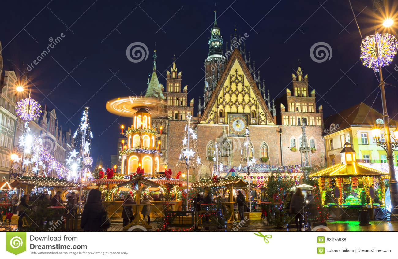 Wroclaw Poland Market Square Night Stock Photos, Images.