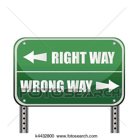 Road sign: Right way / Wrong way Clipart.