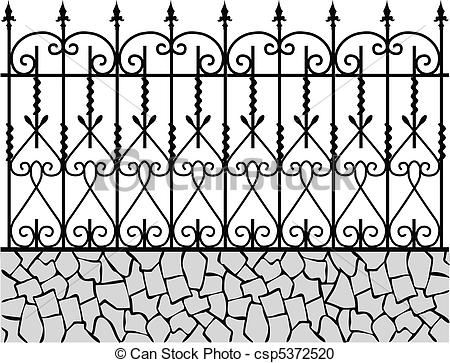 Vector Clipart of Wrought iron fence.