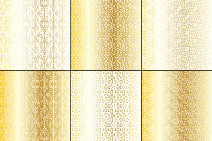 metallic gold and white wrought iron patterns.