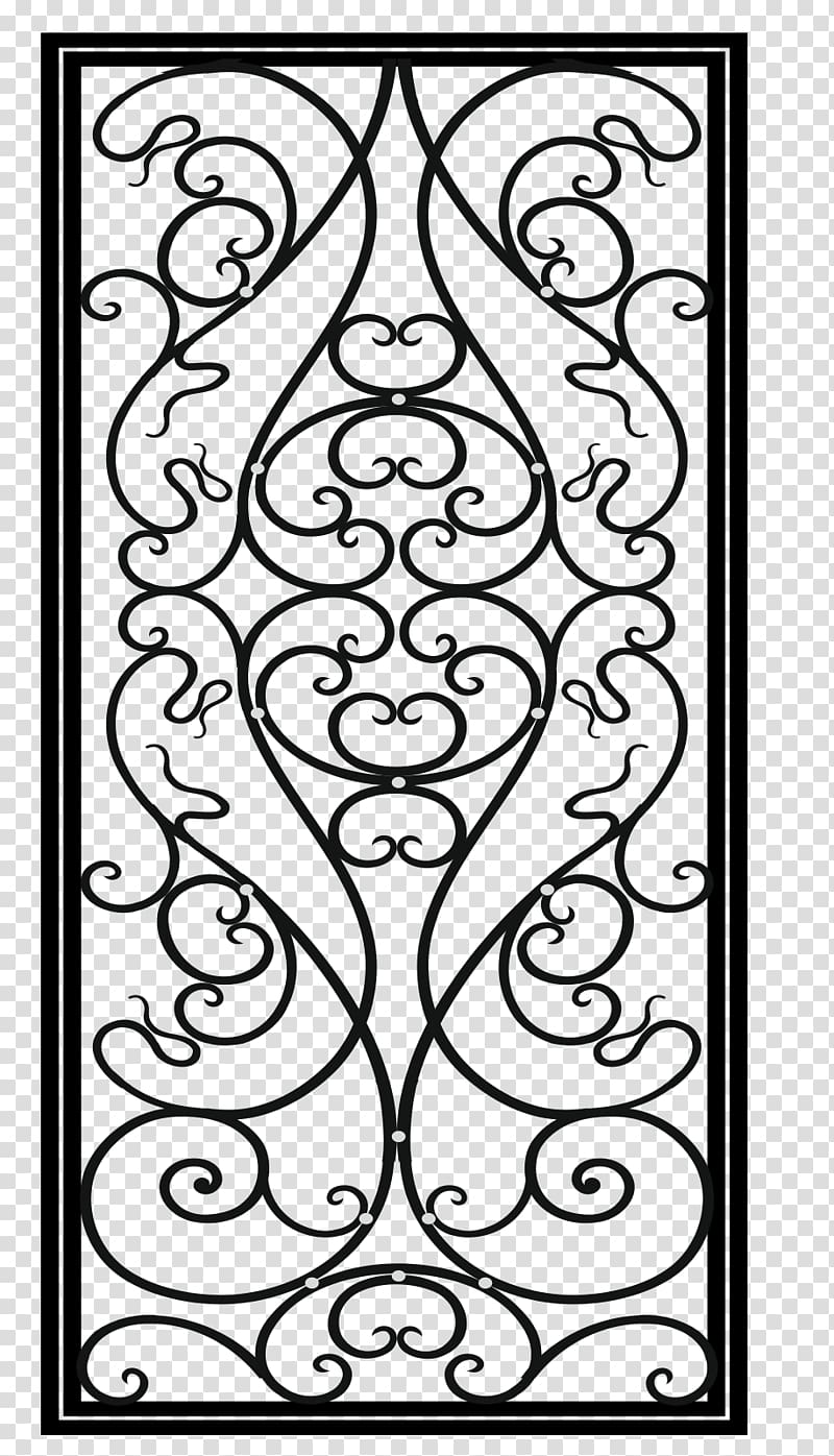 Rectangular black frame illustration, Wrought iron Drawing.