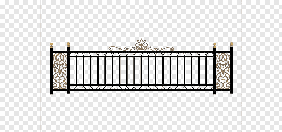 Black and brown fence illustration, Wrought iron Fence Deck.