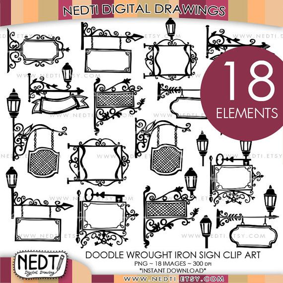 Wrought Iron Sign Doodle Clip Art Paris France Signs by.