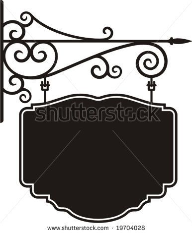 Exquisite hanging sign with ornamental details, vector.