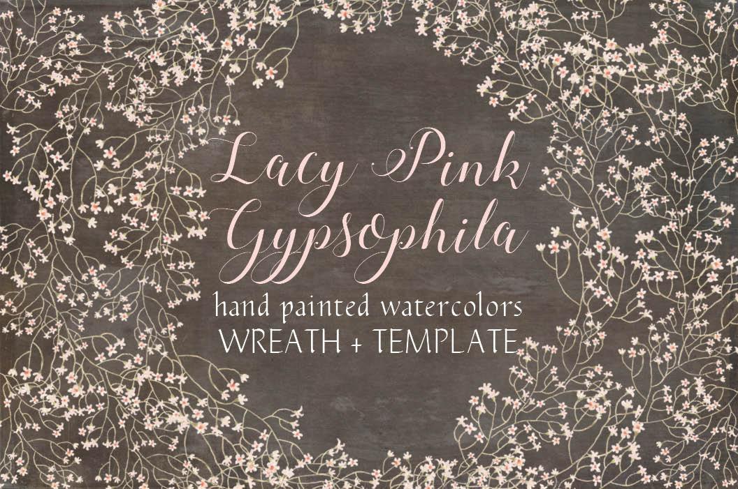 Wreath of pink Gypsophila.