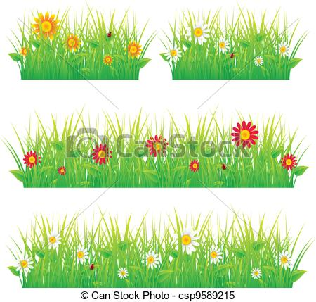 Clipart Vector of Summer meadow beautiful csp9589215.