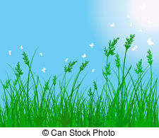 Vector Clip Art of meadow silhouettes.