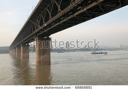 The First Yangtze River Bridge Is Wuhan Bridge. Stock Photo.