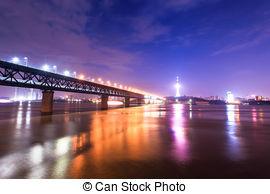 Stock Image of Yangtze river Bridge Wuhan China.