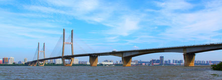 Wuhan Yangtze River Bridge Stock Photo.